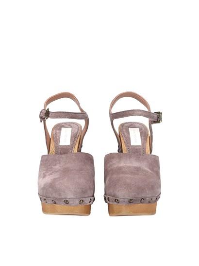 Leather clogs Color: lilac Ankle strap - L'Autre Chose - Suede clogs
