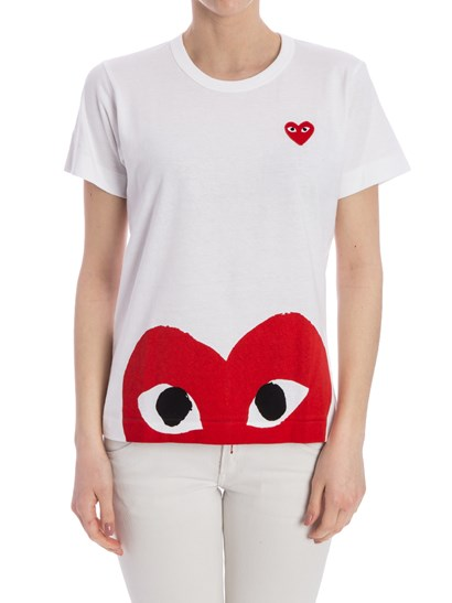 Short sleeves t-shirt Color: white Red print and embroidery  - Comme des Garçons Play  - Cotton T-shirt