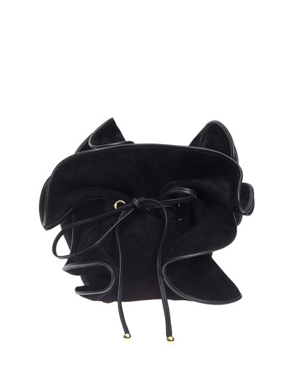 Suede bag Colour: black Ruffles insert Black leather trims Adjustable chain shoulder strap Drawstring closure  - Nina Ricci - Bucket bag