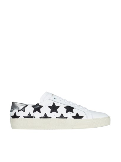Sneakers Color: white Black inserts Logo detail Silver leather back Rubber outsole - Saint Laurent Paris - Leather sneakers