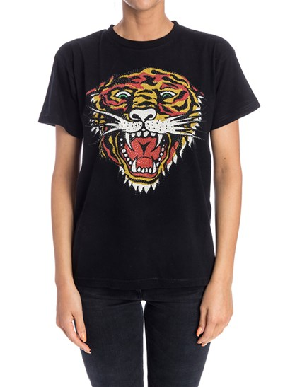 T-shirt girocollo Colore: nero Stampa multicolor con strass sul davanti - Parosh - T-shirt in cotone