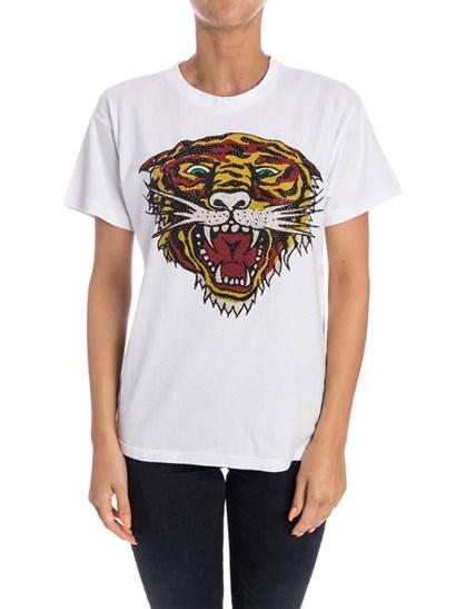 T-shirt girocollo Colore: bianco Stampa multicolor con strass sul davanti - Parosh - T-shirt in cotone