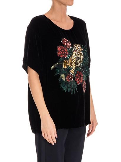 Top Colore: nero Inserto frontale in paillettes multicolor Chiusura sul retro con gancetto - Parosh - Top in velluto