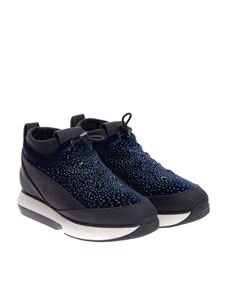 Alexander Smith - Scuba effect fabric and leather sneakers