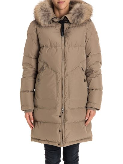 Hooded down jacket Color: beige Front zip pockets Removable fur insert Zip on the back