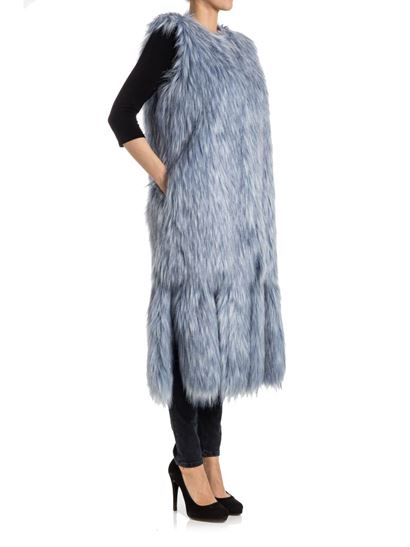 Waistcoat Color: light blue melange Inserts on the bottom Buttons closure   - ELISABETTA FRANCHI - Eco-fur waistcoat