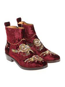 Coral Blue - Velvet ankle boots